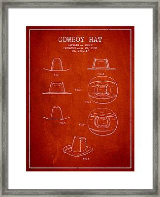 Cowboy Hat Patent From 1985 - Red Framed Print by Aged Pixel