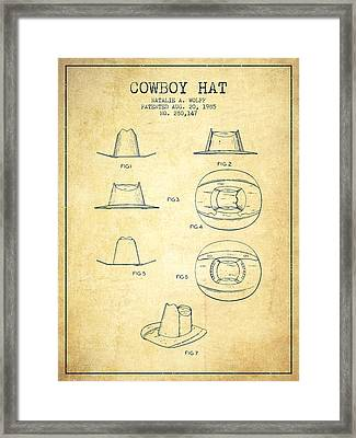 Cowboy Hat Patent From 1985 - Vintage Framed Print by Aged Pixel