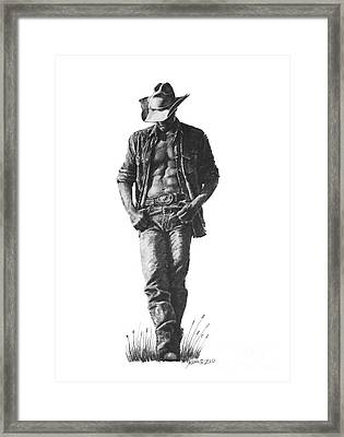 Cowboy Framed Print by Marianne NANA Betts