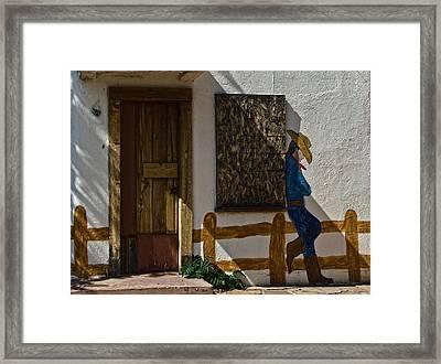 Cowboy Mural In Benson Arizona Usa Framed Print by Dave Dilli