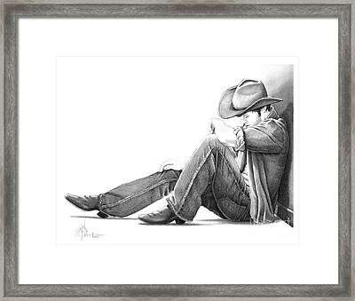 Cowboy Pencil Drawings Framed Print featuring the drawing Cowboy by Murphy Elliott