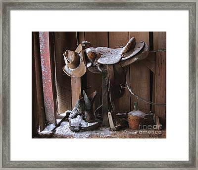 Cowboy Snow Boots Framed Print by Pam Carter