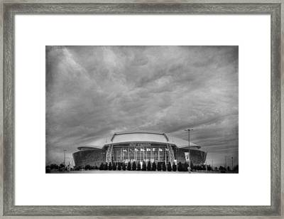 Cowboy Stadium Bw Framed Print by Joan Carroll