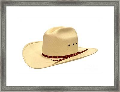 Cowboy Straw Hat Framed Print by Olivier Le Queinec