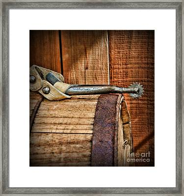 Cowboy Themed Wood Barrel And Spur Framed Print by Paul Ward