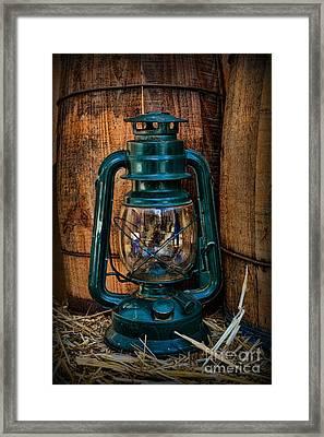 Cowboy Themed Wood Barrels And Lantern Framed Print by Paul Ward