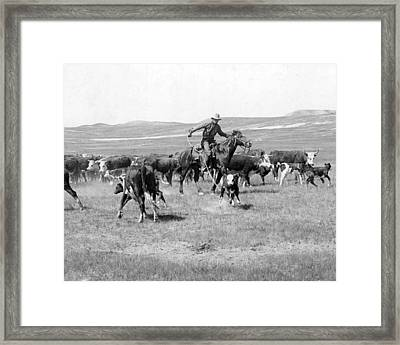 Cowboy Western Cattle Drive Vintage  Framed Print by Retro Images Archive