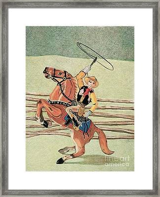 Cowboy Pencil Drawings Framed Print featuring the drawing Cowboy Windup by Glenda Zuckerman