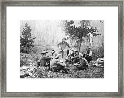 Cowboys Around A Campfire Framed Print by Underwood Archives