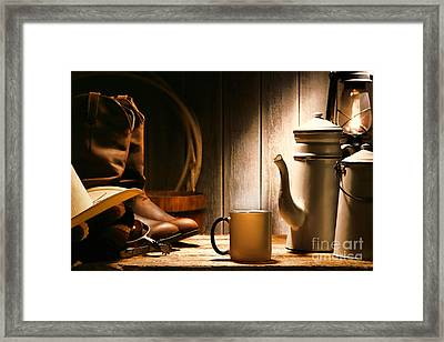 Cowboy's Coffee Break Framed Print by Olivier Le Queinec