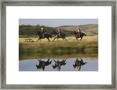 Cowboys Riding With Dogs Oregon Framed Print by Konrad Wothe