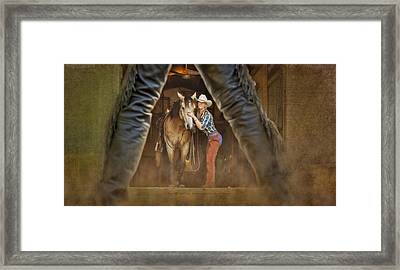 Cowgirl And Cowboy Framed Print by Susan Candelario