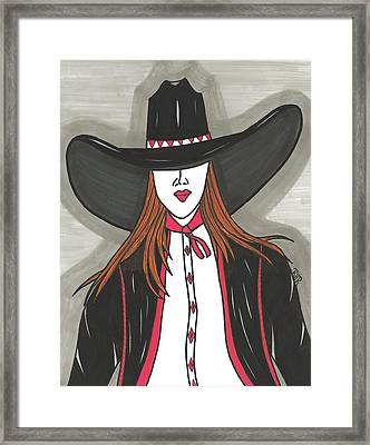 Cowgirl In Red And Black Framed Print by Ray Ratzlaff