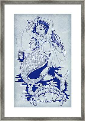 Crab And The Mermaid Framed Print by Arun Sivaprasad