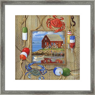 Crab Shack Collage Framed Print by Paul Brent