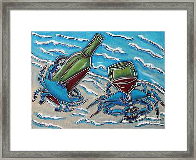 Crab Wine Time Framed Print by Cynthia Snyder