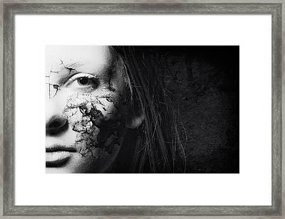 Cracked Face Framed Print by Erik Brede