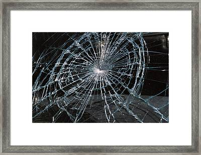 Cracked Glass Of Car Windshield Framed Print by Anonymous