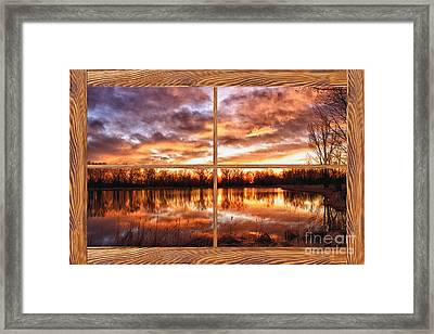Crane Hollow Sunrise Barn Wood Picture Window Frame View Framed Print by James BO  Insogna
