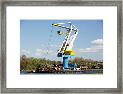 Crane On A Barge Framed Print by Ashley Cooper