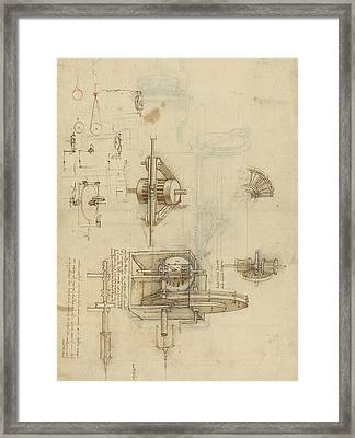 Crank Spinning Machine With Several Details Framed Print by Leonardo Da Vinci