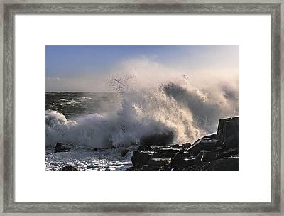Crashing Surf Framed Print by Marty Saccone