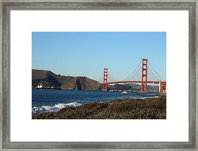 Crashing Waves And The Golden Gate Bridge Framed Print by Linda Woods