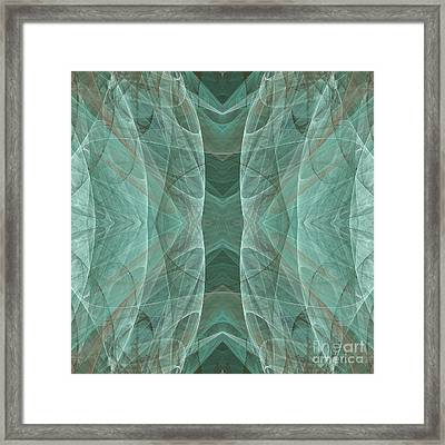 Crashing Waves Of Green 4 - Square - Abstract - Fractal Art Framed Print by Andee Design