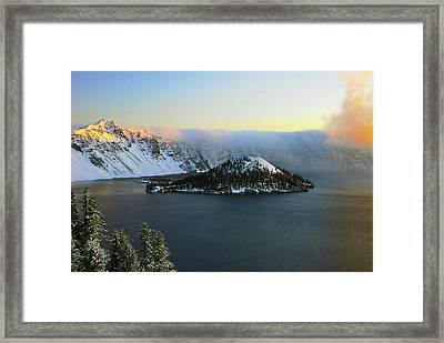 Crater Lake At Dawn, Crater Lake Framed Print by Michel Hersen