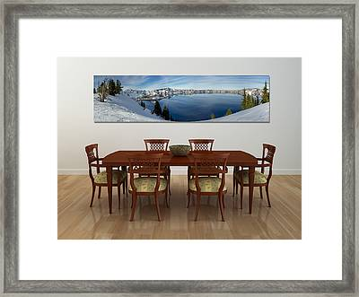 Crater Lake Dining Room Framed Print by Loree Johnson