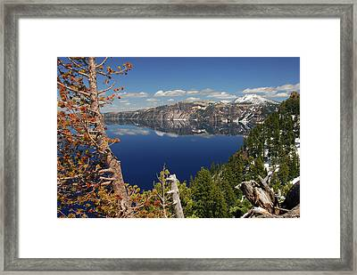 Crater Lake From The Rim, Crater Lake Framed Print by Michel Hersen
