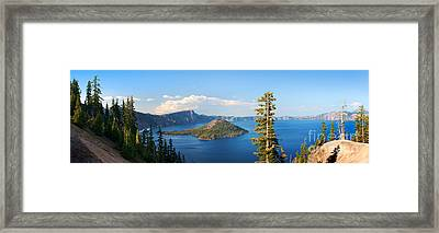 Crater Lake Panorama Framed Print by Inge Johnsson