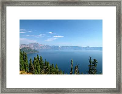 Crater Lake Shrouded In Smoke Framed Print by David R. Frazier