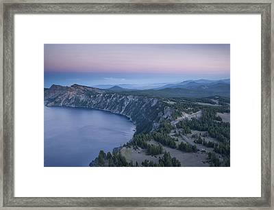 Crater Lake Sunset Framed Print by Melany Sarafis