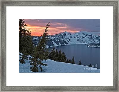 Crater Lake Sunset Framed Print by Stuart Gordon