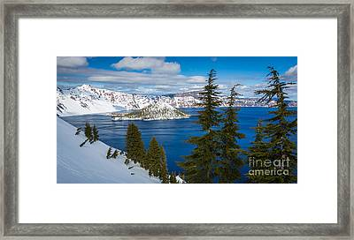 Crater Lake Winter Panorama Framed Print by Inge Johnsson