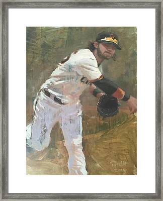 Crawford Throw To First Framed Print by Darren Kerr