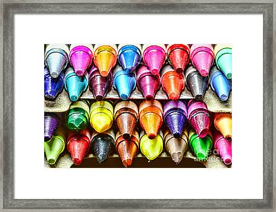 Crayons Colors Of The Rainbow Framed Print by Paul Ward