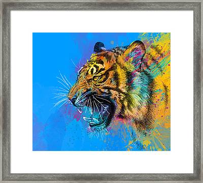 Crazy Tiger Framed Print by Olga Shvartsur