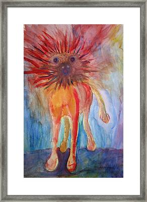 It Isn't Easy Being The Crazy Animal Framed Print by Hilde Widerberg