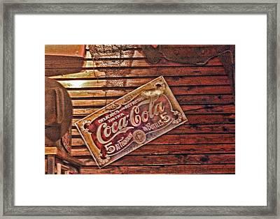 Creative Vintage Coca Cola Sign Framed Print by Linda Phelps