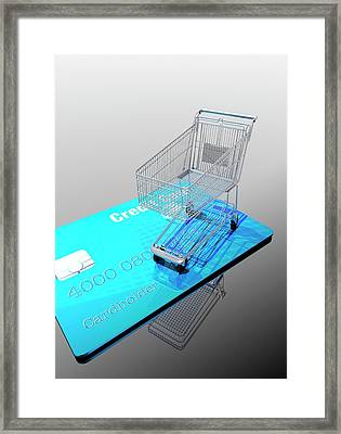 Credit Card And Trolley Framed Print by Victor Habbick Visions