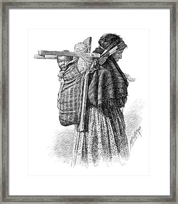 Cree Indian Squaw And Papoose Framed Print by British Library
