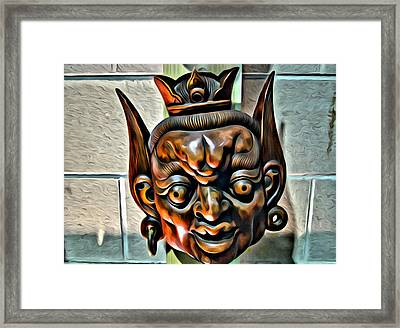 Creepy Mask Two Framed Print by Alice Gipson