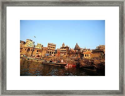 Cremation Ghat Of Varanasi Framed Print by Money Sharma