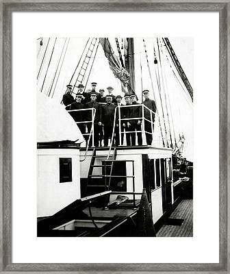 Crew Of Carnegie Research Vessel Framed Print by American Philosophical Society