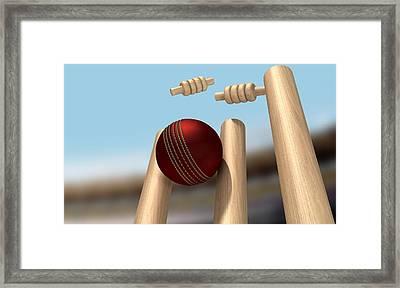 Cricket Ball Hitting Wickets Framed Print by Allan Swart