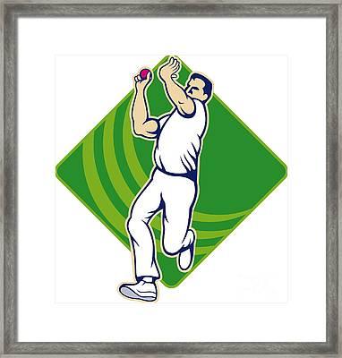 Cricket Bowler Bowling Ball Front Framed Print by Aloysius Patrimonio