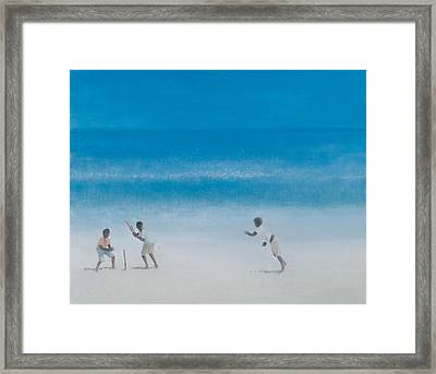 Cricket On The Beach, 2012 Acrylic On Canvas Framed Print by Lincoln Seligman
