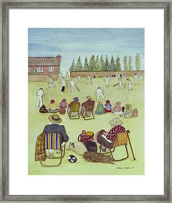 Cricket On The Green, 1987 Watercolour On Paper Framed Print by Gillian Lawson
